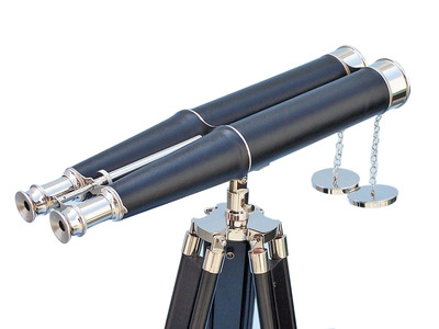 Floor Standing Admirals Chrome-Leather Binoculars on stand 62