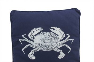 Navy Blue and White Crab Pillow 16""