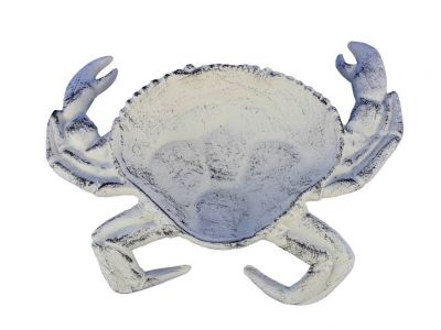 Whitewashed Cast Iron Crab Decorative Bowl 7\