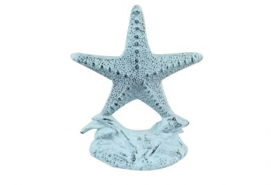Dark Blue Whitewashed Cast Iron Starfish Door Stopper 11\