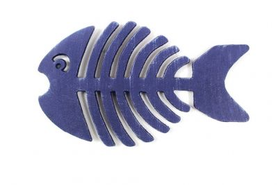 Rustic Dark Blue Cast Iron Fish Bone Trivet 11""