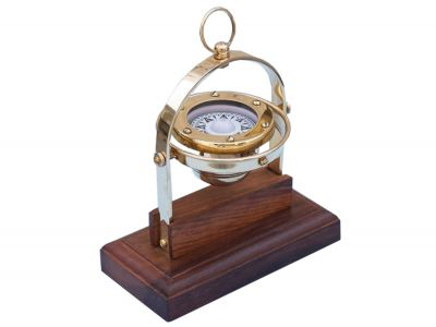 Antique Brass Executive Desk Gimbal Compass 8\