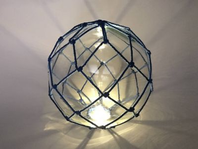 Tabletop LED Lighted Clear Japanese Glass Ball Fishing Float with Blue Netting Decoration 10\