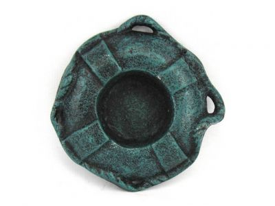Seaworn Blue Cast Iron Lifering Decorative Tealight Holder 4""