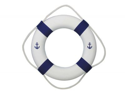 Classic White Decorative Anchor Lifering with Blue Bands 20\