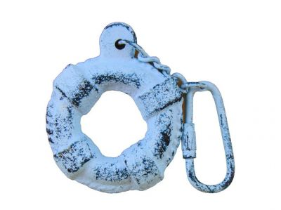 Rustic Dark Blue Whitewashed Cast Iron Lifering Key Chain 5""