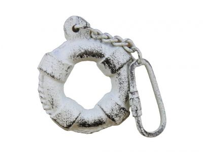 Rustic Whitewashed Cast Iron Lifering Key Chain 5""
