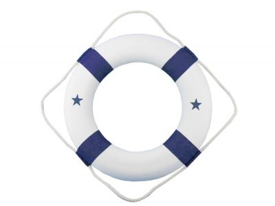 Classic White Decorative Lifering with Blue Bands 20""