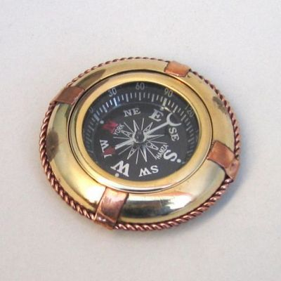 Solid Brass Black-Faced Life Ring Compass 3