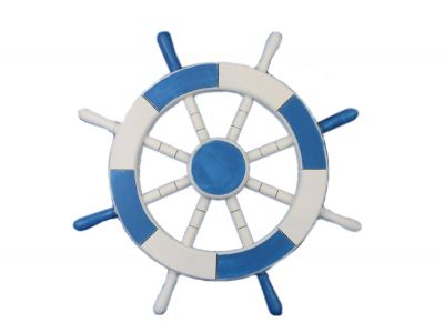 Light Blue and White Ship Wheel 18