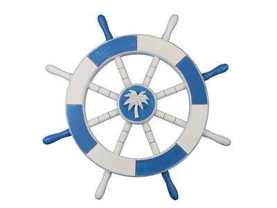 Light Blue and White Ship Wheel with Palm Tree 18