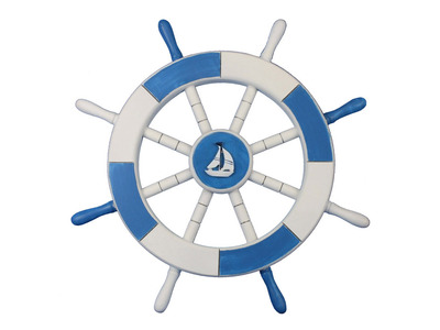 Light Blue and White Ship Wheel with Sailboat 18