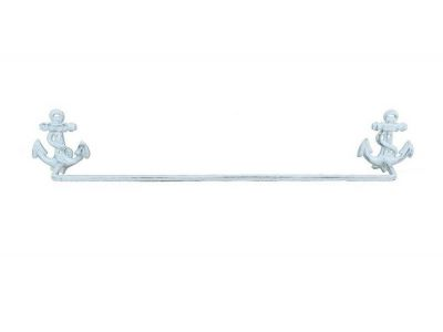 Whitewashed Cast Iron Anchor Bath Towel Holder 27""