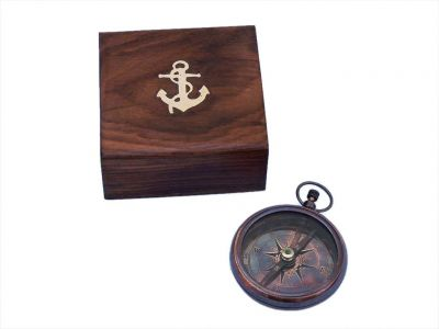 Antique Copper Beveled Lensatic Compass w/ Rosewood Box 4\