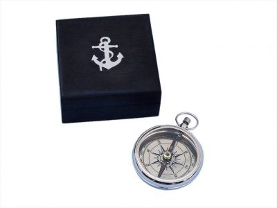 Chrome Beveled Lensatic Compass w/ Rosewood Box 4\