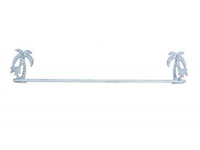 Whitewashed Cast Iron Palm Tree Bath Towel Holder 26\