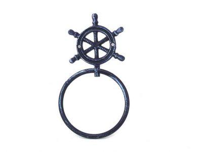 Rustic Dark Blue Cast Iron Ship Wheel Towel Holder 8.5\