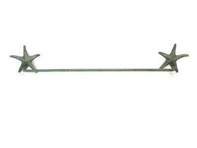 "Antique Bronze Cast Iron Starfish Large Bath Towel Holder 28"""