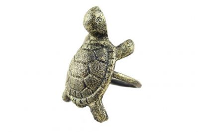 "Antique Gold Cast Iron Turtle Napkin Ring 3"" - Set of 2"