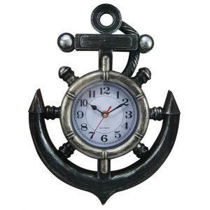 Ship Wheel and Anchor Wall Clock 15""