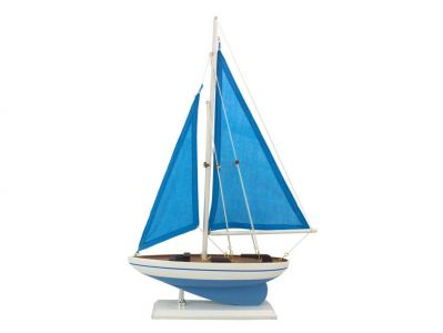 Wooden Blue Cove Model Sailboat 17""