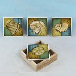 Ceramic Seashell Coasters w- Holder - Set of 4