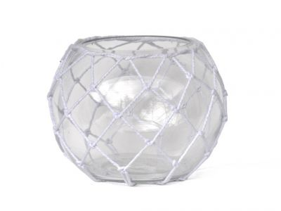 Clear Japanese Glass Fishing Float Bowl with Decorative White Fish Netting 10\