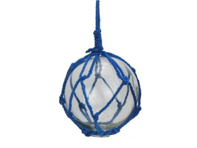 Clear Japanese Glass Ball Fishing Float with Dark Blue Netting Decoration 3\