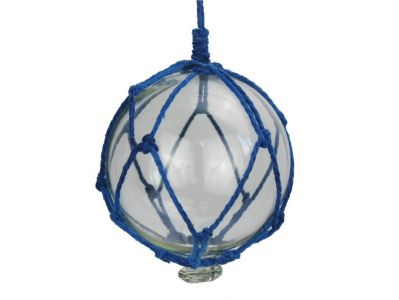 Clear Japanese Glass Ball Fishing Float with Dark Blue Netting Decoration 4\