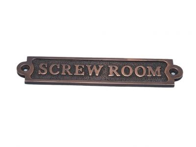 Antique Copper Screw Room Sign 6""