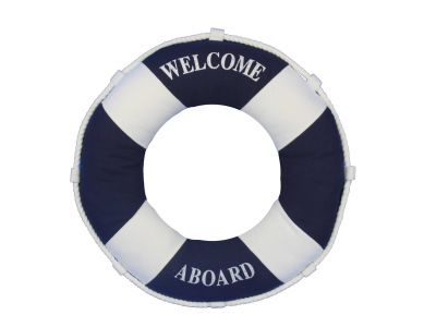 Blue Welcome Aboard Decorative Life Ring Pillow 14\