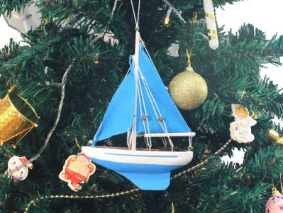 Wooden Light Blue Sailboat with Light Blue Sails Christmas Tree Ornament 9\