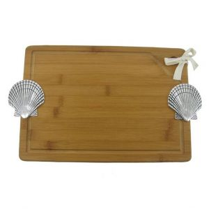 Bamboo Cutting Board with Seashell 16""