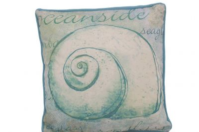 Blue and White Nautilus Decorative Throw Pillow 10""