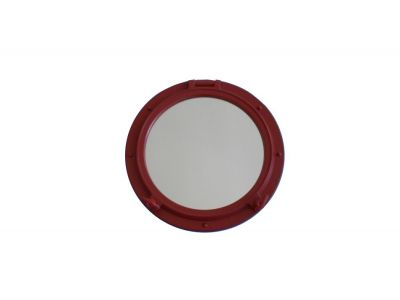 Dark Red Porthole Mirror 15