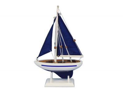 Wooden Blue Pacific Sailer with Blue Sails Model Sailboat Decoration 9\