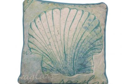 Blue and White Seashell Decorative Throw Pillow 10""