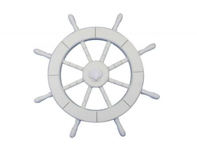 White Ship Wheel with Seashell 18
