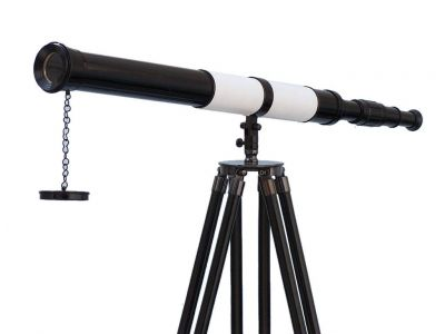 Admirals Floor Standing Oil Rubbed Bronze-White Leather with Black Stand Telescope 60\