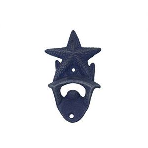 Rustic Dark Blue Whitewashed Cast Iron Wall Mounted Starfish Bottle Opener 6\