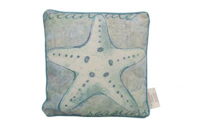 Blue and White Starfish Decorative Throw Pillow 10""
