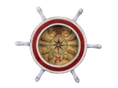 Wooden Rustic White and Red Ship Wheel Knot Faced Clock 12\