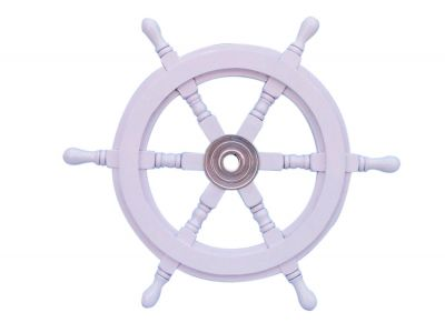 Deluxe Class White Wood and Chrome Ship Steering Wheel 18