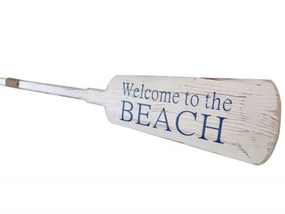 Wooden Rustic Welcome to the Beach Decorative Rowing Oar with Hooks 62