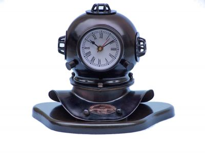 Iron Divers Helmet Clock on Wood Base 12