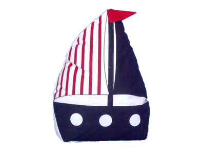 Patriotic Blue with Red Stripe Sailboat Door Stopper 10""