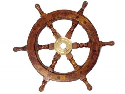 Deluxe Class Wood and Brass Decorative Ship Wheel 12""