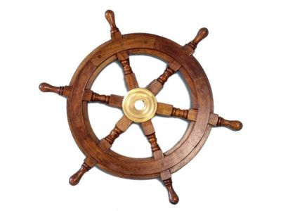 Wood and Brass Ship Wheel 15