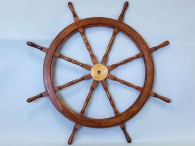 Wood and Brass Ship Wheel 48