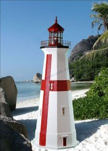 East Quoddy Stucco Electric Lawn Lighthouse 48
